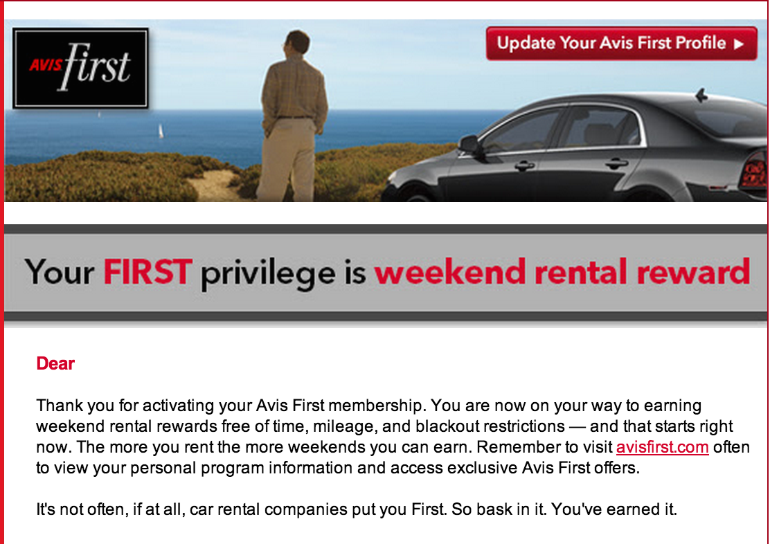Letter with free rental