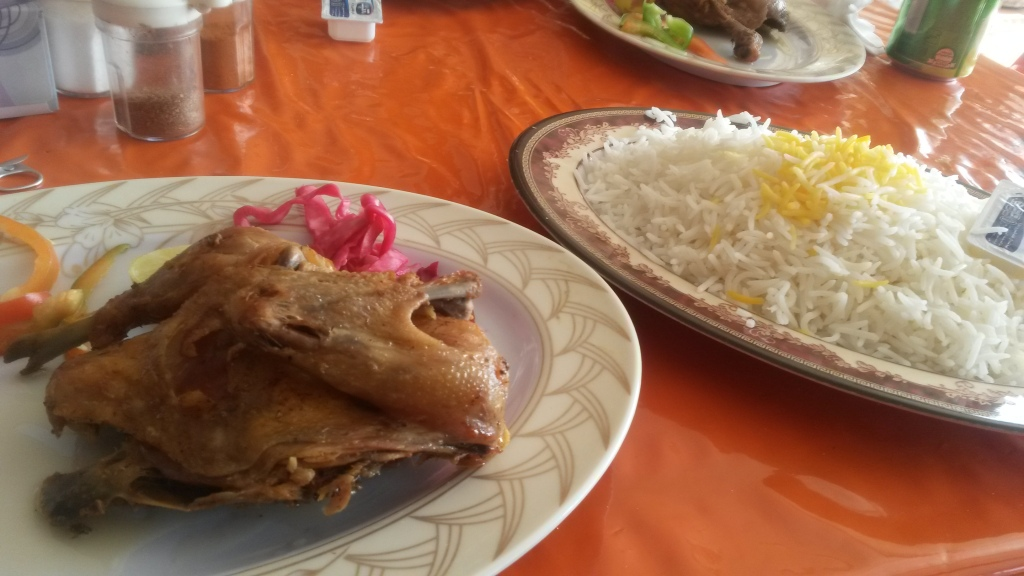 Chicken and rice dish at a roadside restaurant in Iran